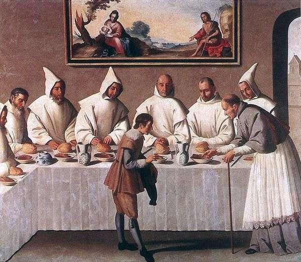 Sv的奇迹。Hugo Grenoble在修道院的食堂   Francisco de Zurbaran
