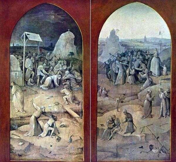 羁押并携带十字架。外坛翅膀   Hieronymus Bosch