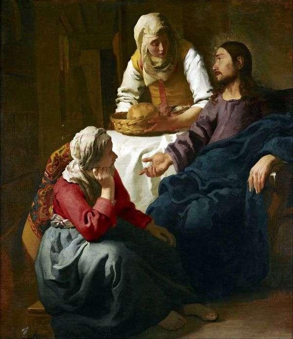 基督在玛莎和玛丽的房子里   扬 维米尔