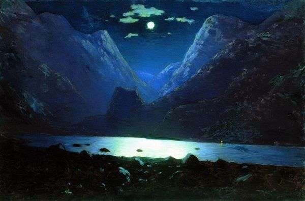 达里尔峡谷。月光之夜   Arkhip Kuindzhi