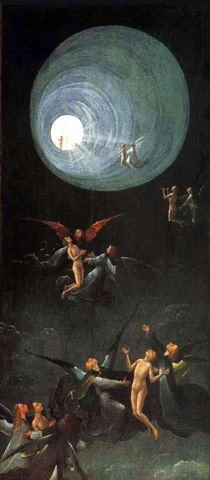 帝国的升天,下一个世界的愿景。祭坛的一部分   Hieronymus Bosch