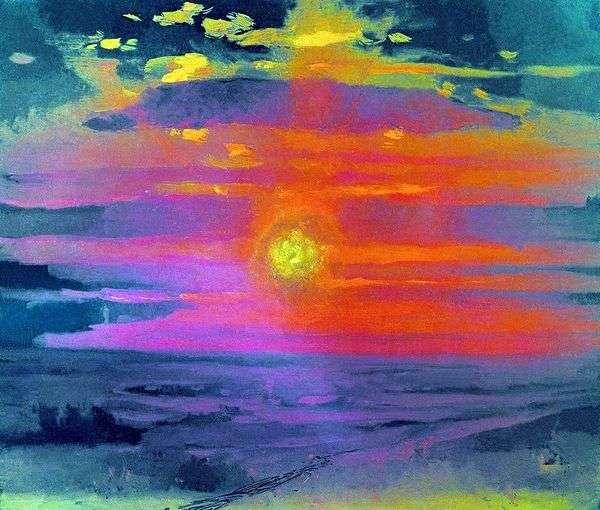 在冬天的日落。海岸   Arkhip Kuindzhi
