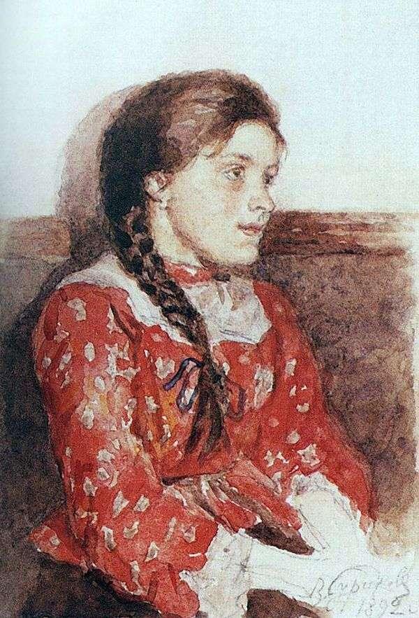 一件红色毛线衣的女孩   瓦西里Surikov