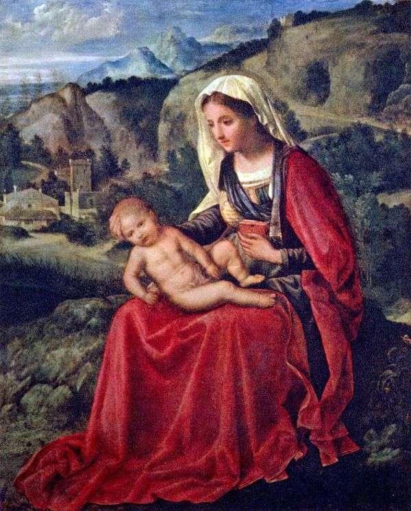 有婴孩的圣母玛丽亚在风景的背景中   Giorgione