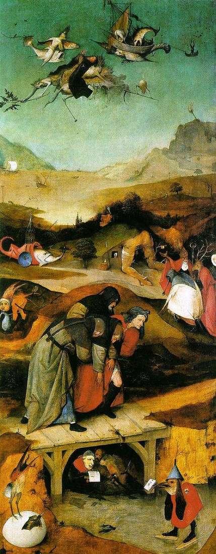 圣安东尼的飞行和秋天。三联左翼   Hieronymus Bosch