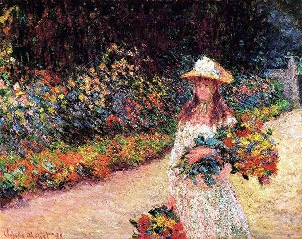 女孩在花园里,吉维尼   克劳德莫奈