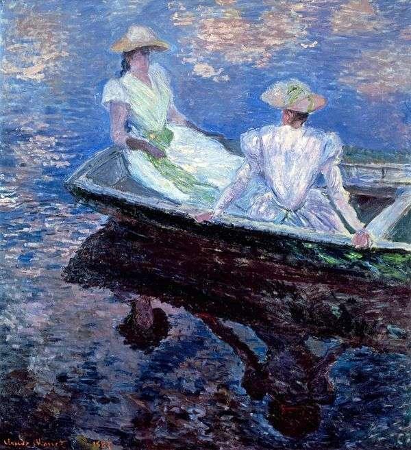 蓝色小船的女孩   克劳德 莫奈