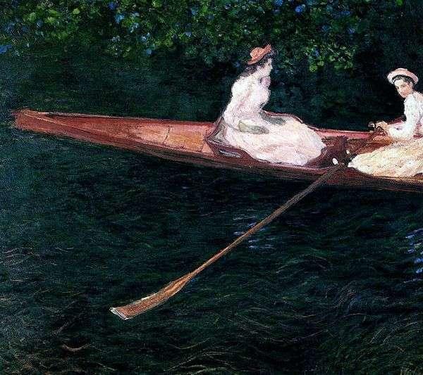 航行在河Ept的一条小船的女孩   克劳德 莫奈