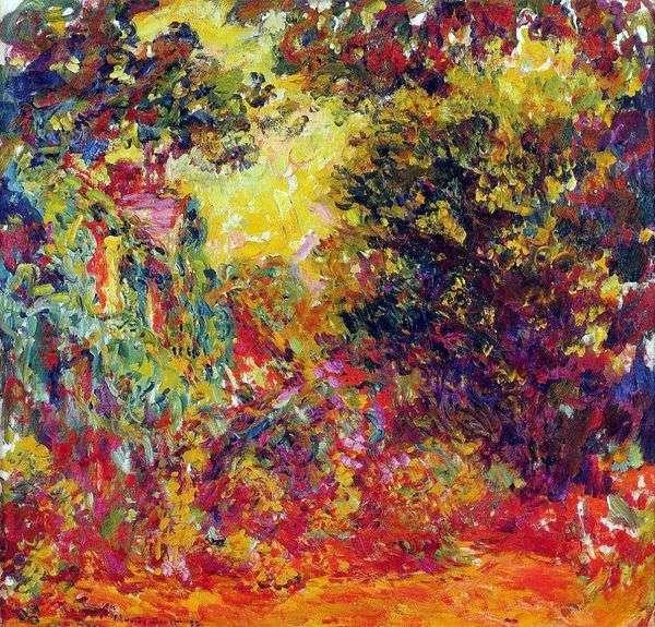 艺术家之家,从玫瑰园   克劳德莫奈的视图