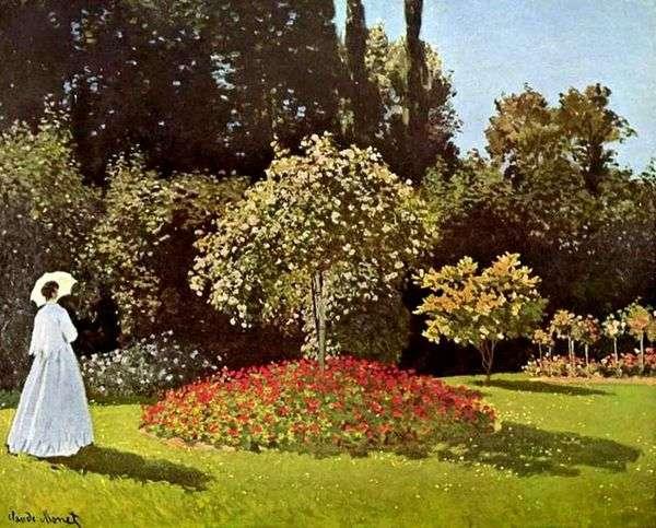 在Saint Adress花园里的女士(Jeanne Margarita Lecadre在花园里)   Claude Monet