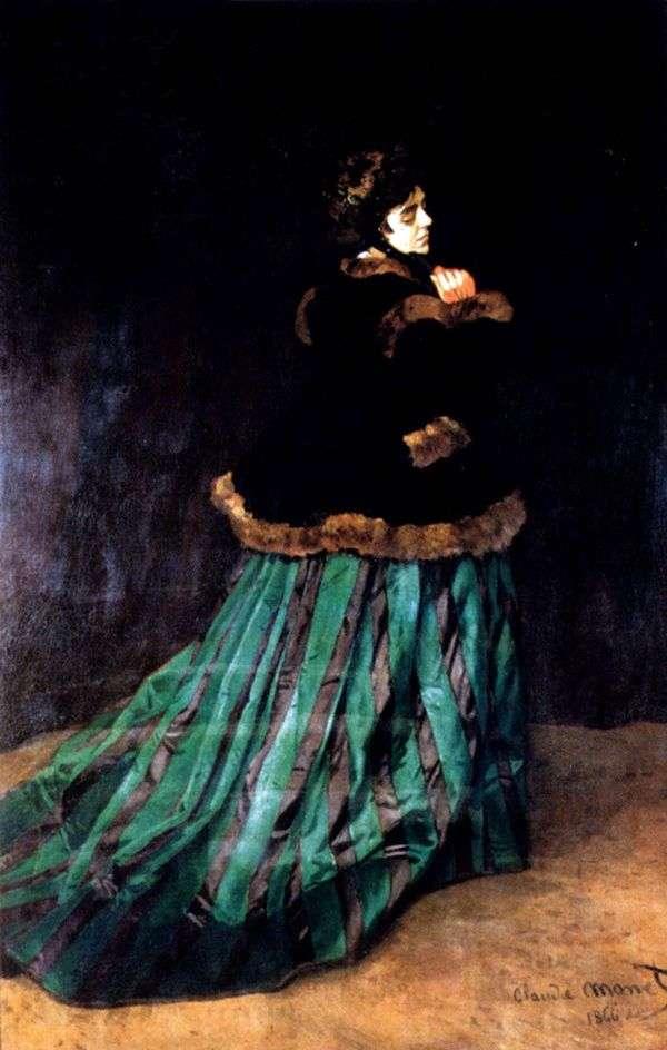 绿色礼服的妇女   克劳德 莫奈