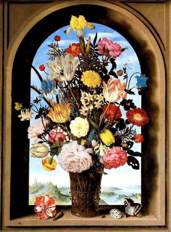 在拱形窗口的花束   Ambrosius Boshart