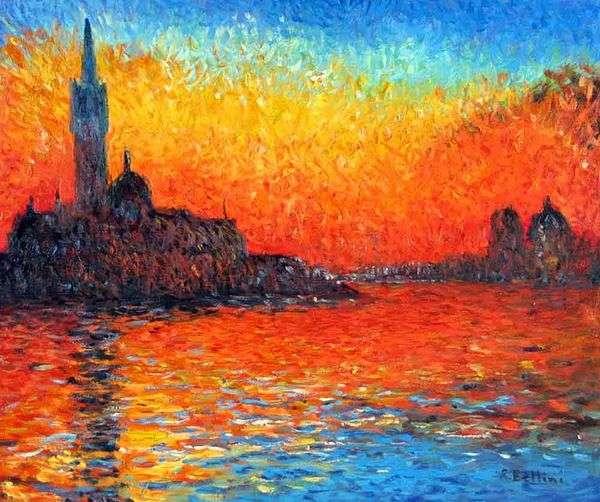 在威尼斯的日落   克劳德 莫奈