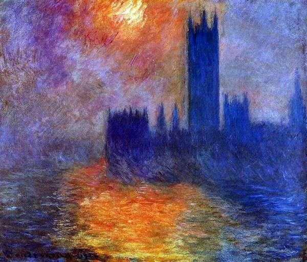 议会大厦在伦敦。日落   克劳德莫奈