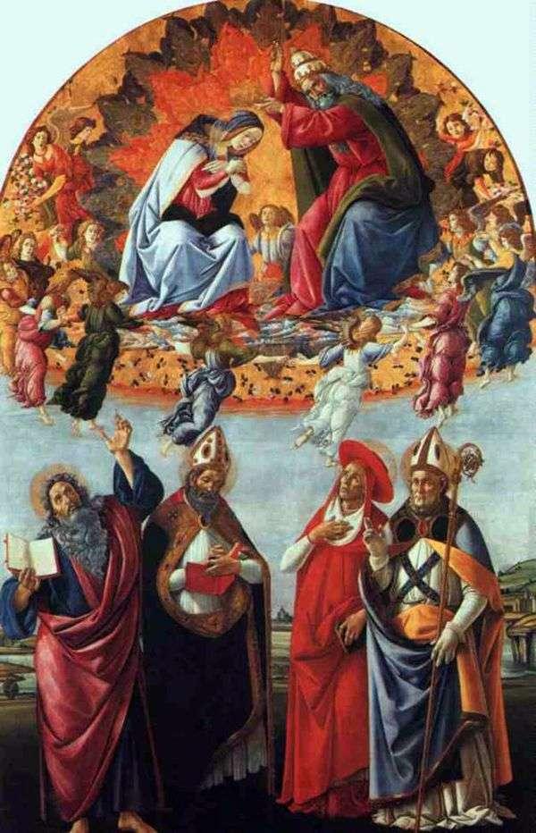 圣马可祭坛,或玛利亚与天使的加冕,约翰福音传教士和圣徒奥古斯丁,杰罗姆和赫利吉乌斯   桑德罗波提切利