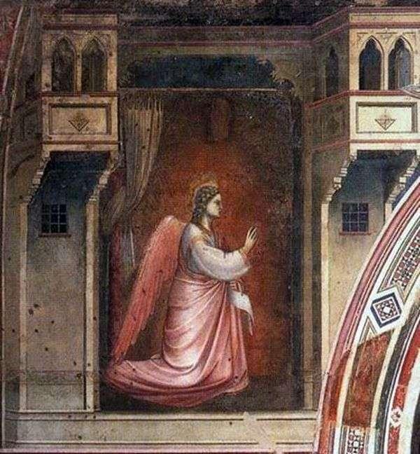 天使加百利的壁画与壁画天使报喜   乔托