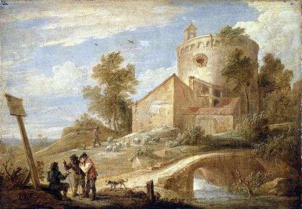 与塔的风景   大卫Teniers