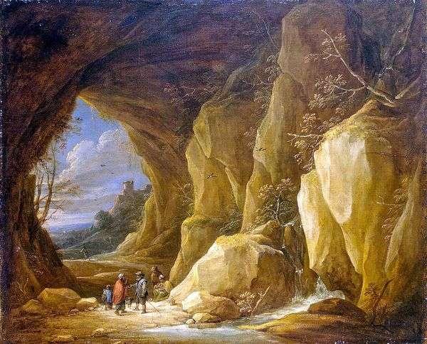 景观与石窟和一群吉普赛人   大卫 特尼尔斯