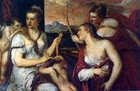 金星,盯着丘比特的眼睛   提香Vecellio