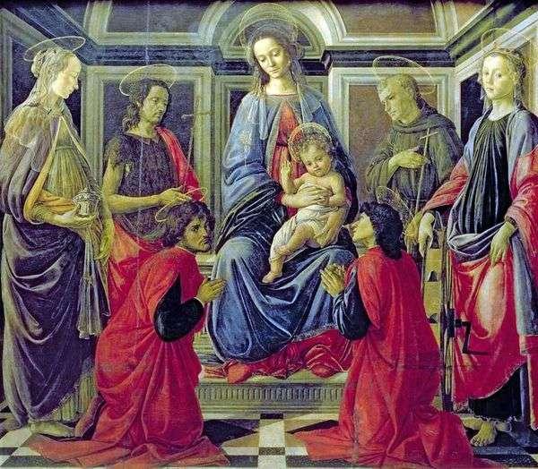 麦当娜与儿童和圣徒抹大拉的玛利亚,施洗约翰,科兹玛,达米安,阿西西的弗朗西斯和亚历山大的凯瑟琳   桑德罗波提切利