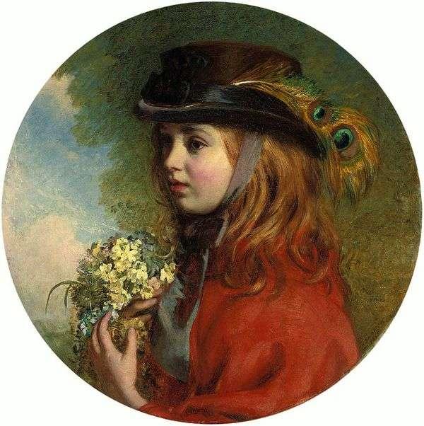 春天(一个女孩的画象有花束的)   亨利Hetherington Emmerson