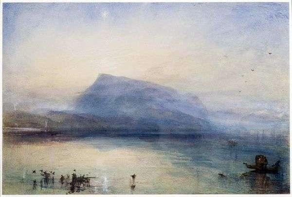 里加山:日出时的卢塞恩湖   威廉特纳