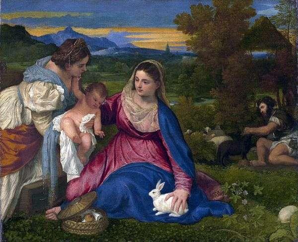 麦当娜和孩子与圣凯瑟琳和兔子   提香Vecellio