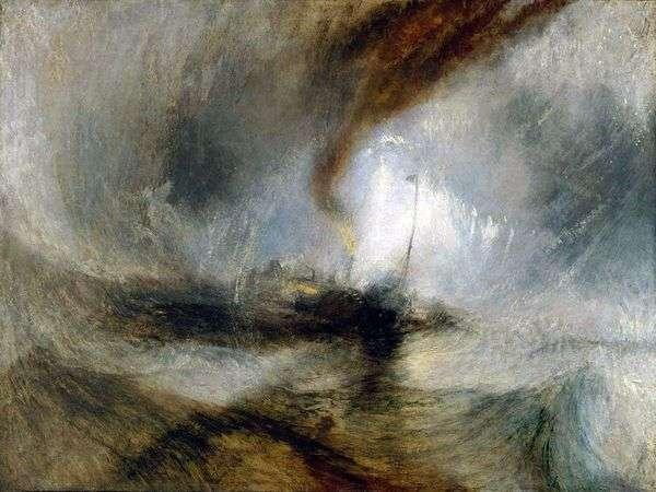 暴风雪。汽船从海港出来并发出求救信号,击中浅水   威廉特纳