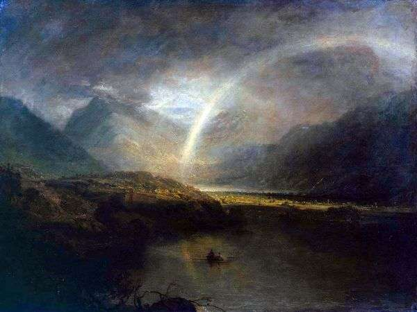 巴特米尔湖,有彩虹和雨   威廉特纳