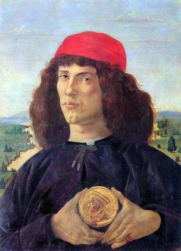 一个人的画象有奖牌的   桑德罗Botticelli