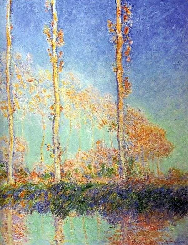 白杨树,秋天的三棵粉红树   克劳德 莫奈
