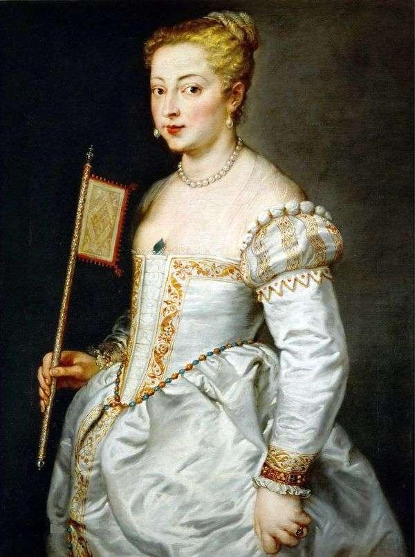 一位夫人的画象一件白色礼服的   提香Vechelio