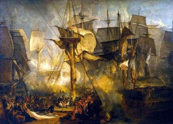 特拉法加战役,从维多利亚船右侧的mizzen桅杆的鹅卵石上看   威廉特纳