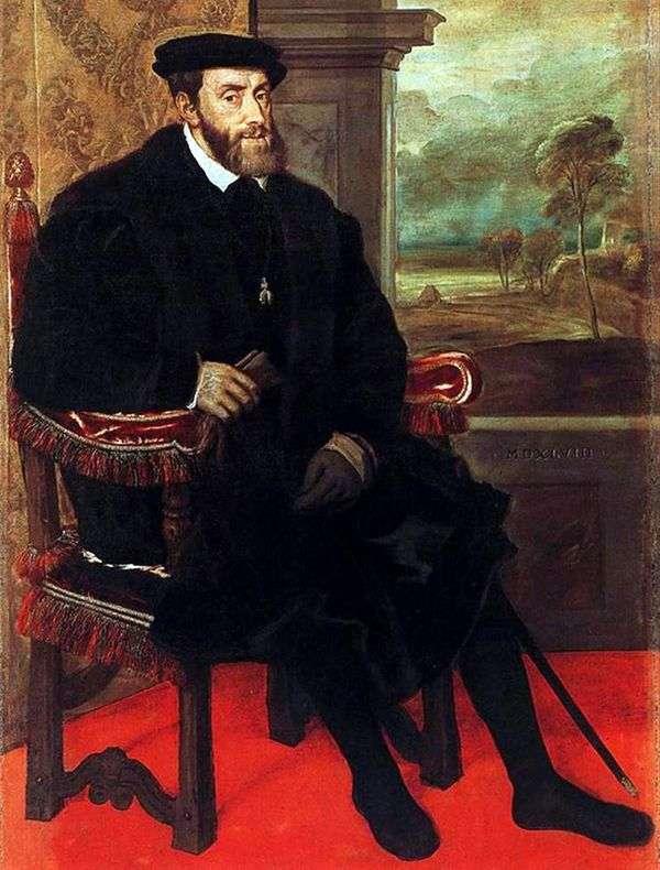 查理五世在椅子上的肖像   提香Vechelio