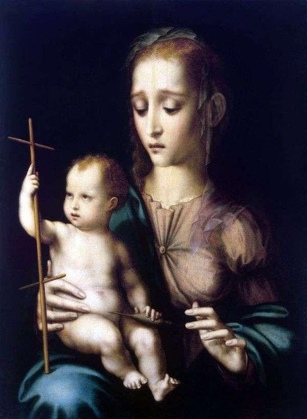 麦当娜与孩子和交叉形状的纺车   路易斯德莫拉莱斯