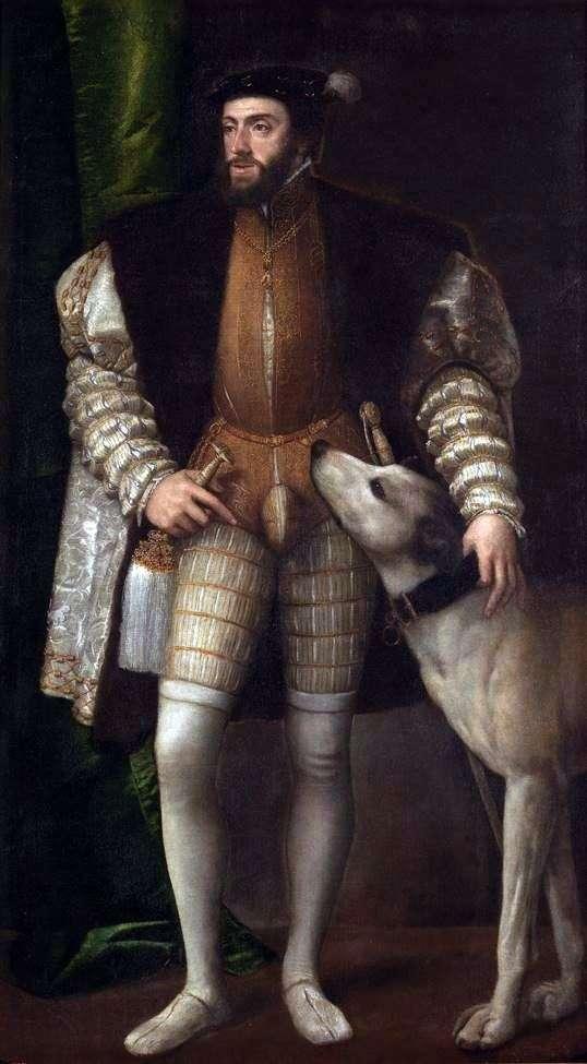 查理五世画象与狗的   提香Vechelio