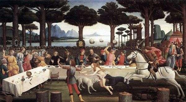 Onisti的Nastagio晚餐(Nastajo degli Onesti历史)   Sandro Botticelli