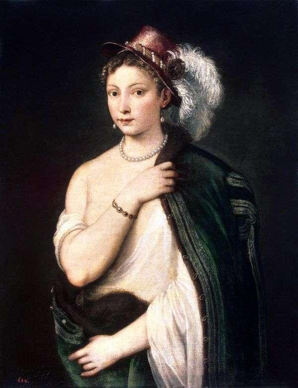 一个少妇的画象一个帽子的有羽毛的   提香Vechelio