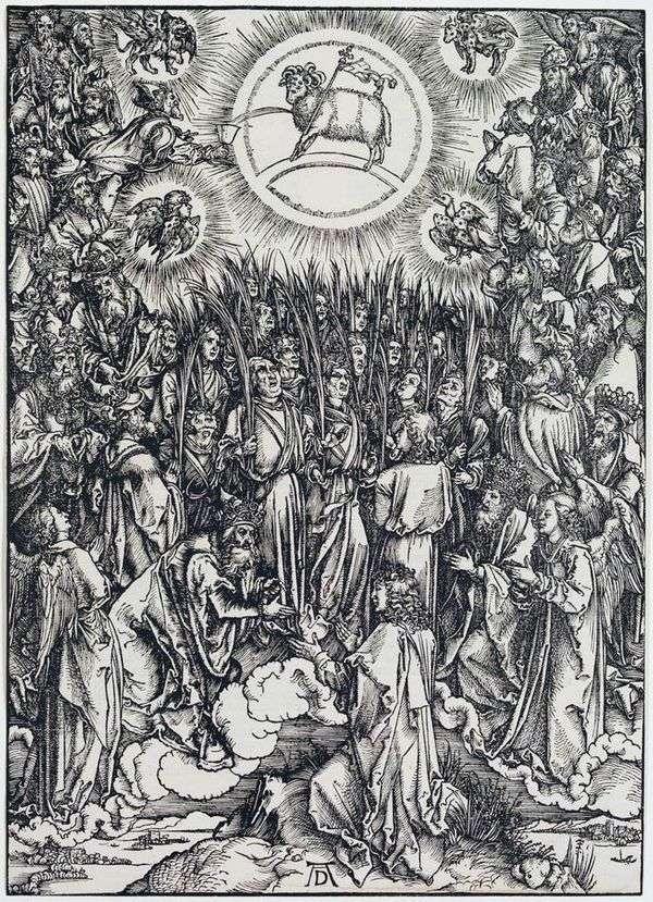 上帝的羔羊和选择的颂歌。雕刻   Albrecht Durer