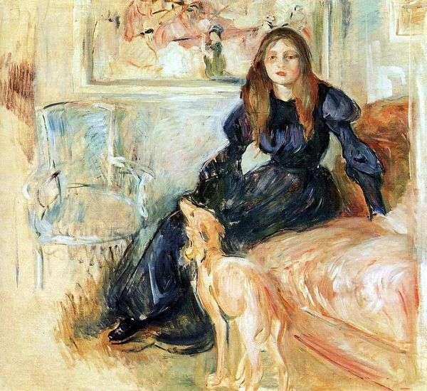 Julie Manet和她的灰狗Laertes   Berthe Morisot