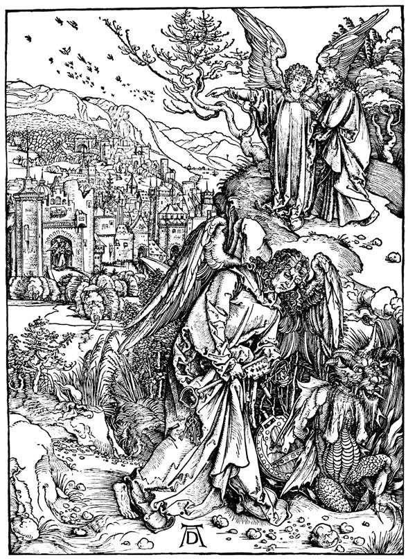 天使与地狱的关键。雕刻   Albrecht Durer