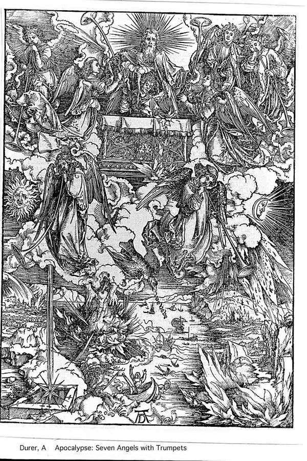 天使和七个小号。雕刻   Albrecht Durer