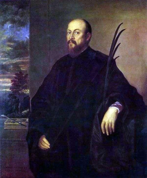 一位艺术家的画象有棕榈叶的   提香Vechelio