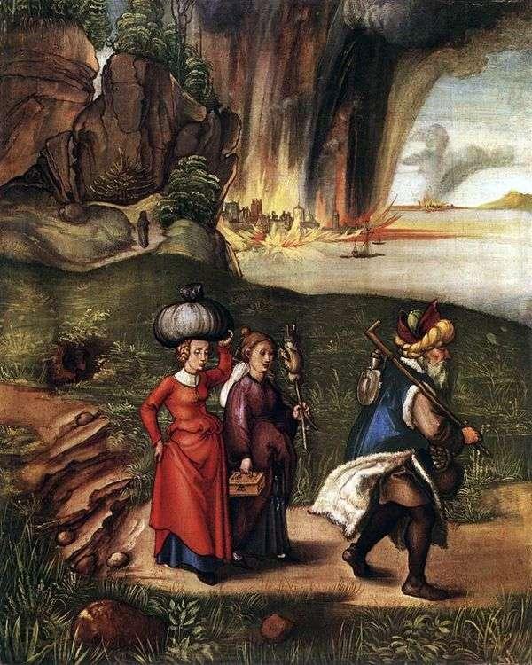 罗得带着他的女儿从所多玛飞来   阿尔布雷希特。丢勒