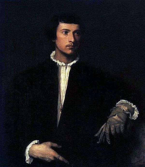 一个年轻人的画象有一个被撕毁的手套的   提香Vechelio
