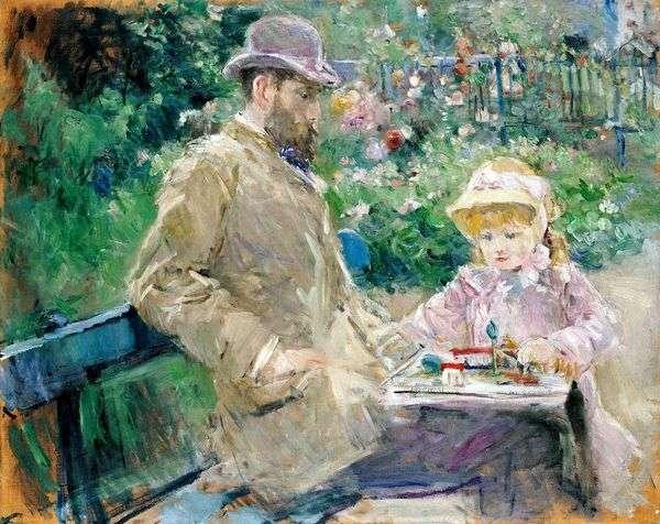 Eugene Manet和她的女儿在Bougival   Berthe Morisot