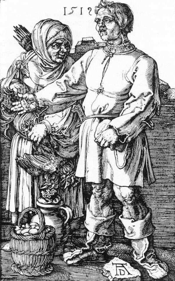 农民和他的妻子在市场上   Albrecht Durer