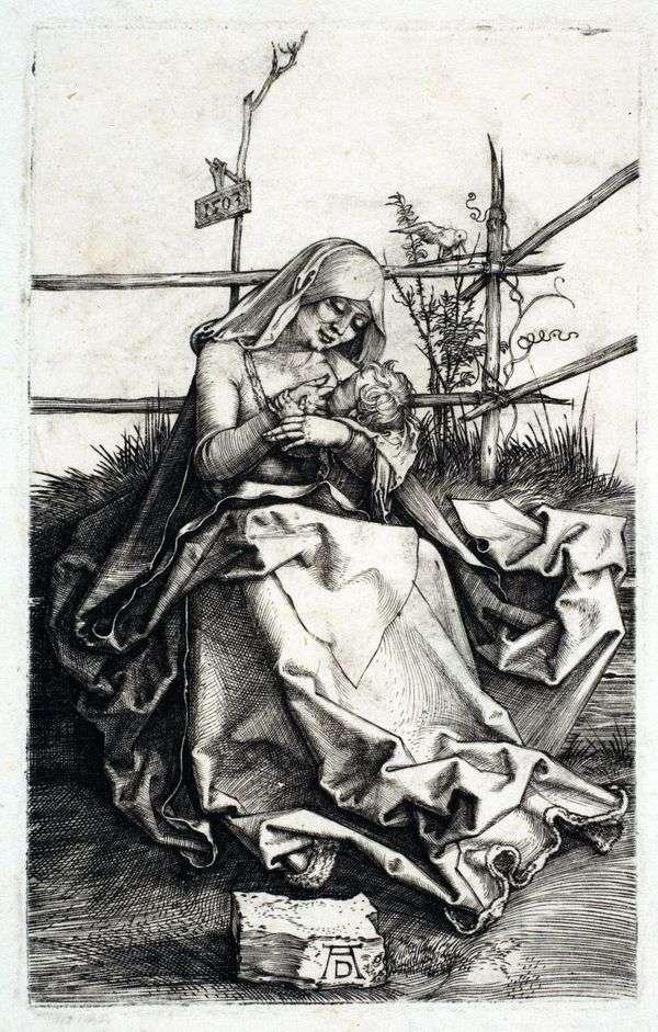 玛丽亚在草皮长凳上   阿尔布雷希特杜勒