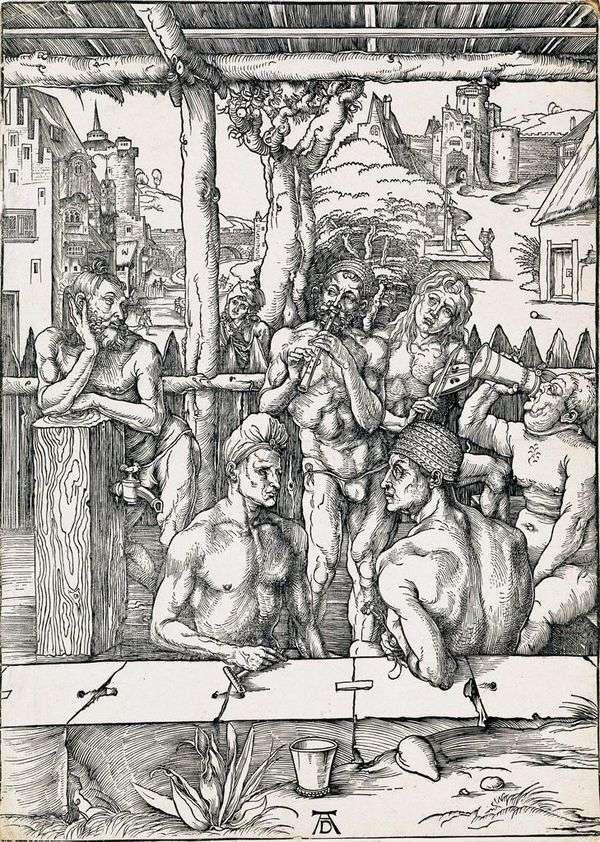 男士洗澡。雕刻   Albrecht Durer