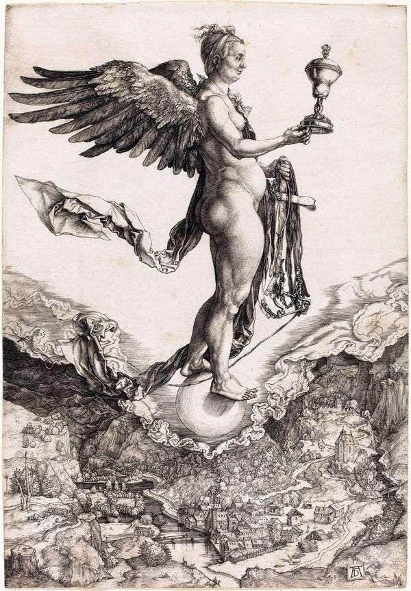 复仇女神或命运女神。雕刻   Albrecht Durer